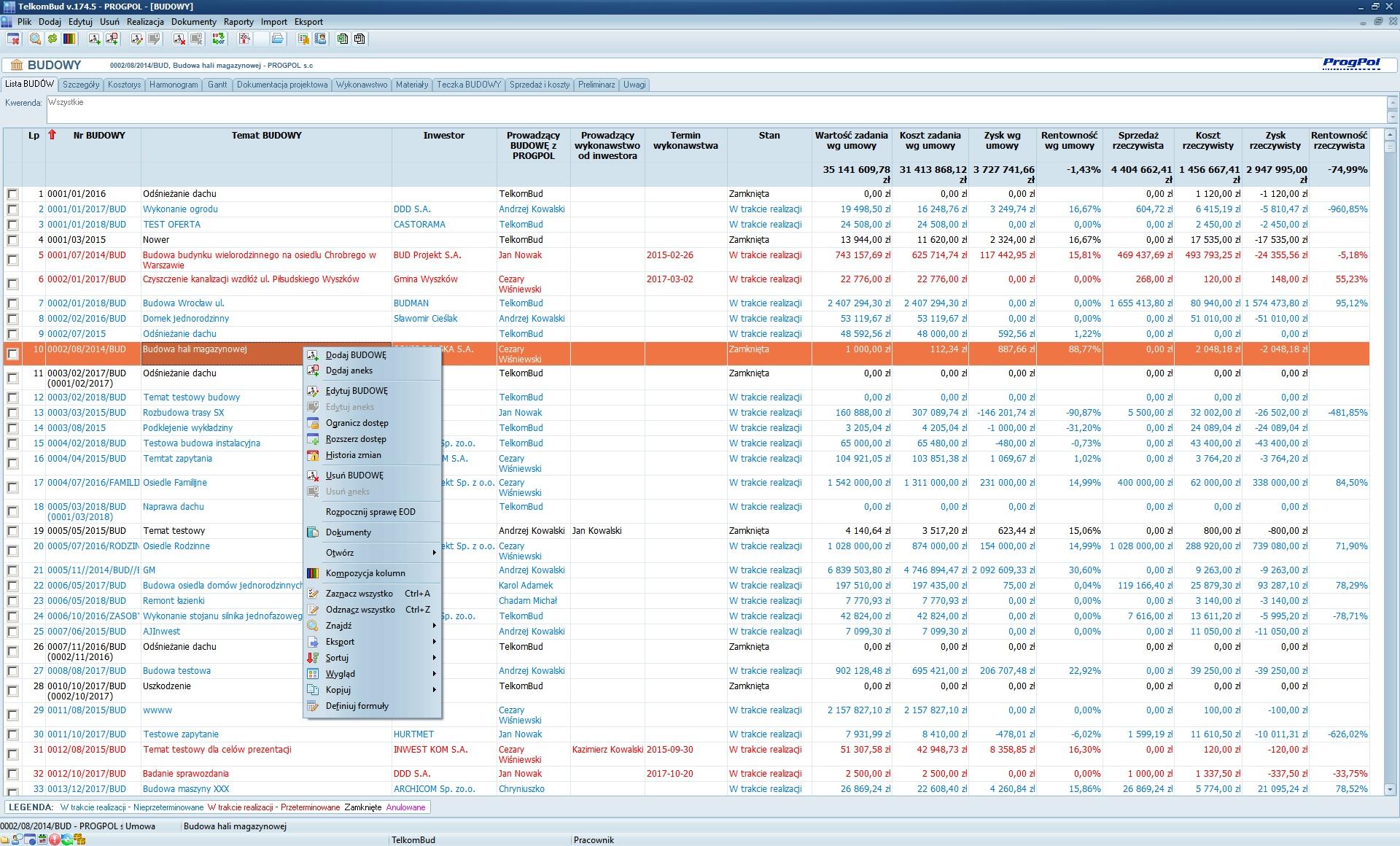 Okno Lista budów modułu Wykonawstwo w systemie TelkomBud