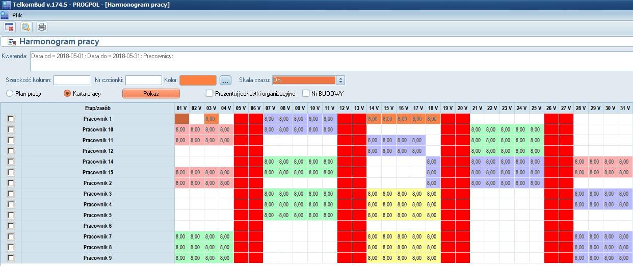 Okno Harmonogram pracy w systemie TelkomBud