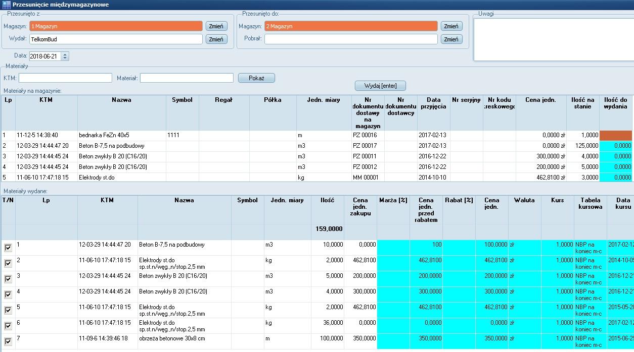 Formularz przesunięcie międzymagazynowe w module Magazyn systemu TelkomBud