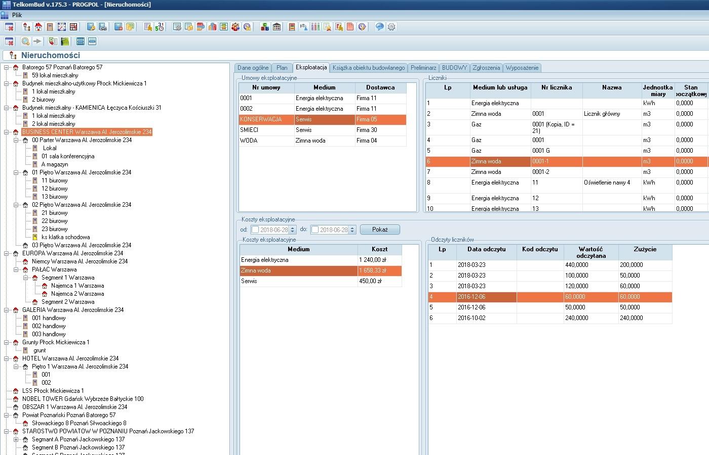 Okno ewidencji nieruchomości w module Nieruchomości systemu TelkomBud