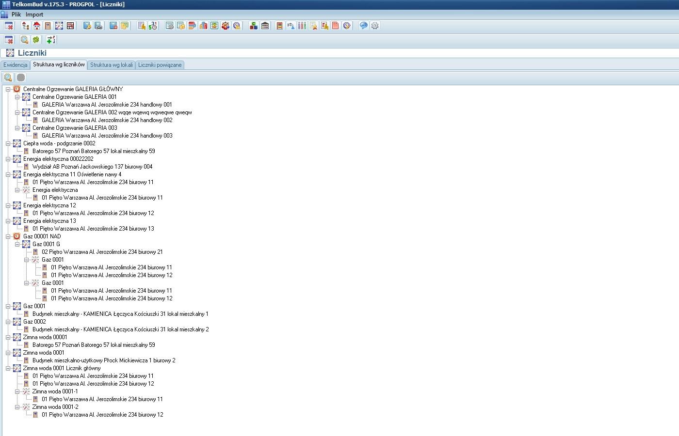 Okno ewidencji liczników w module Nieruchomości systemu TelkomBud