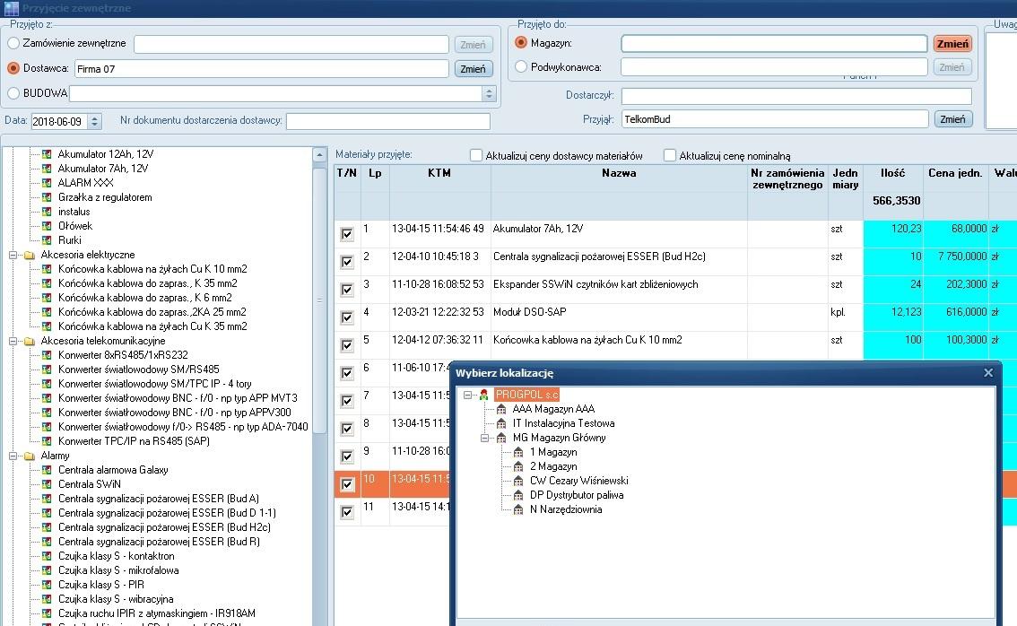Formularz Przyjęcie zewnętrzne modułu Magazyn w systemie TelkomBud