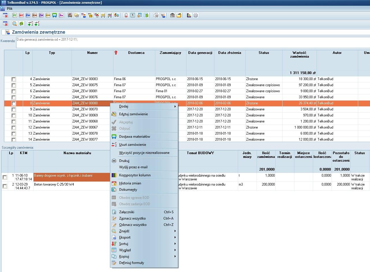 Formularz zamówienia materiałowe do dostawcy modułu Magazyn w systemie TelkomBud