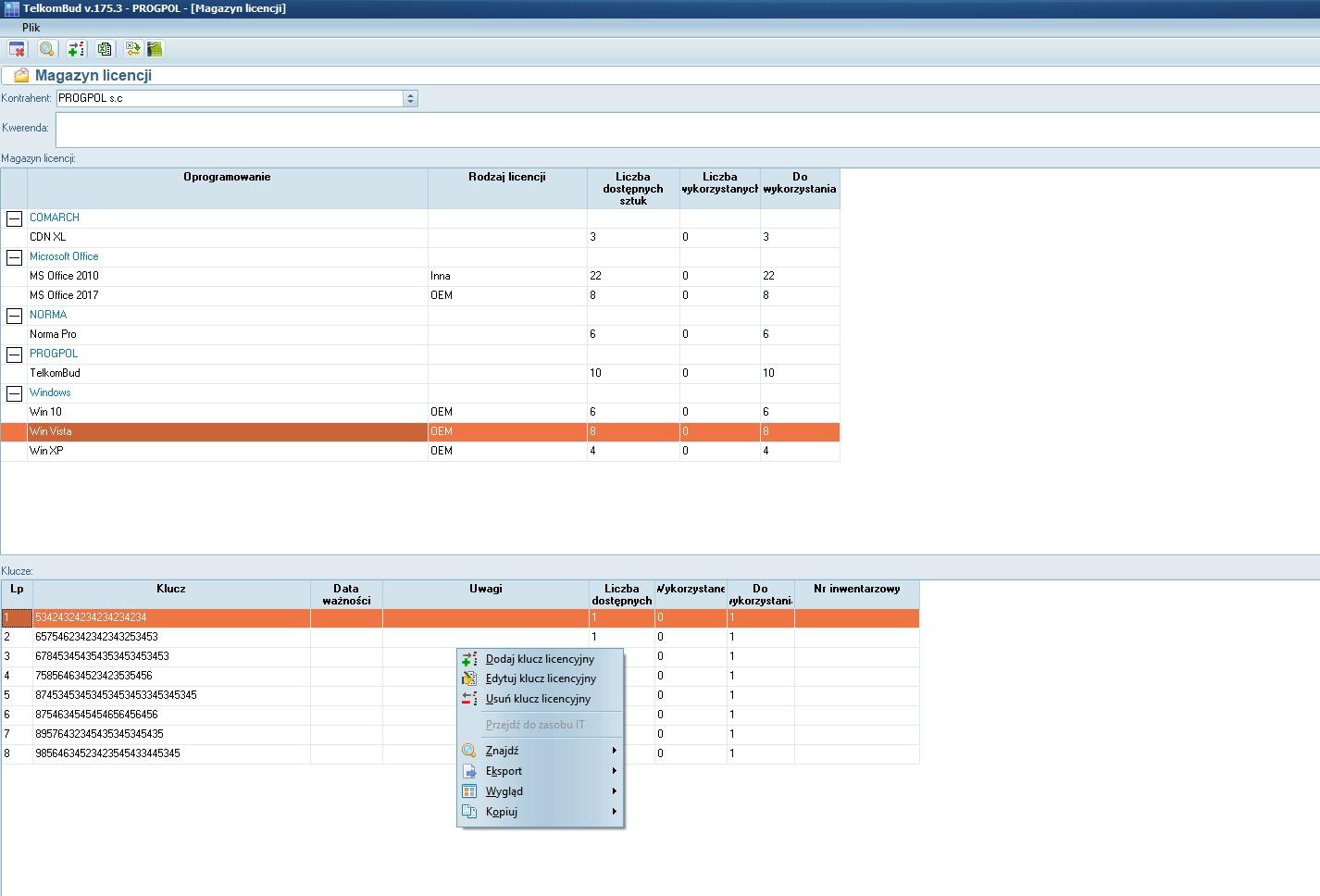 Okno Magazyn licencji w module informatyka systemu TelkomBud
