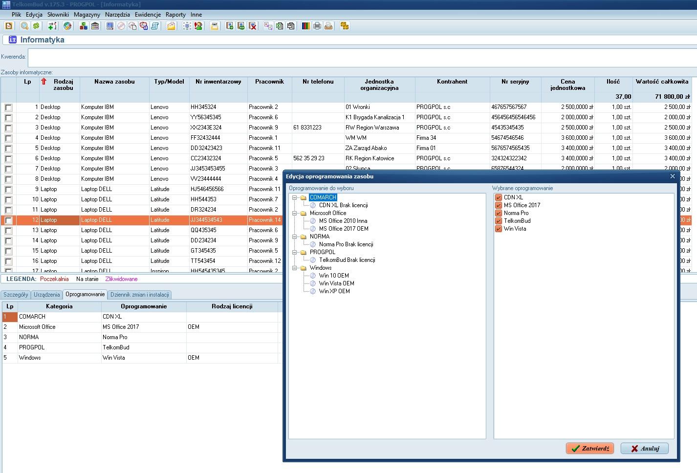 Okno Oprogramowanie w module Informatyka systemu TelkomBud