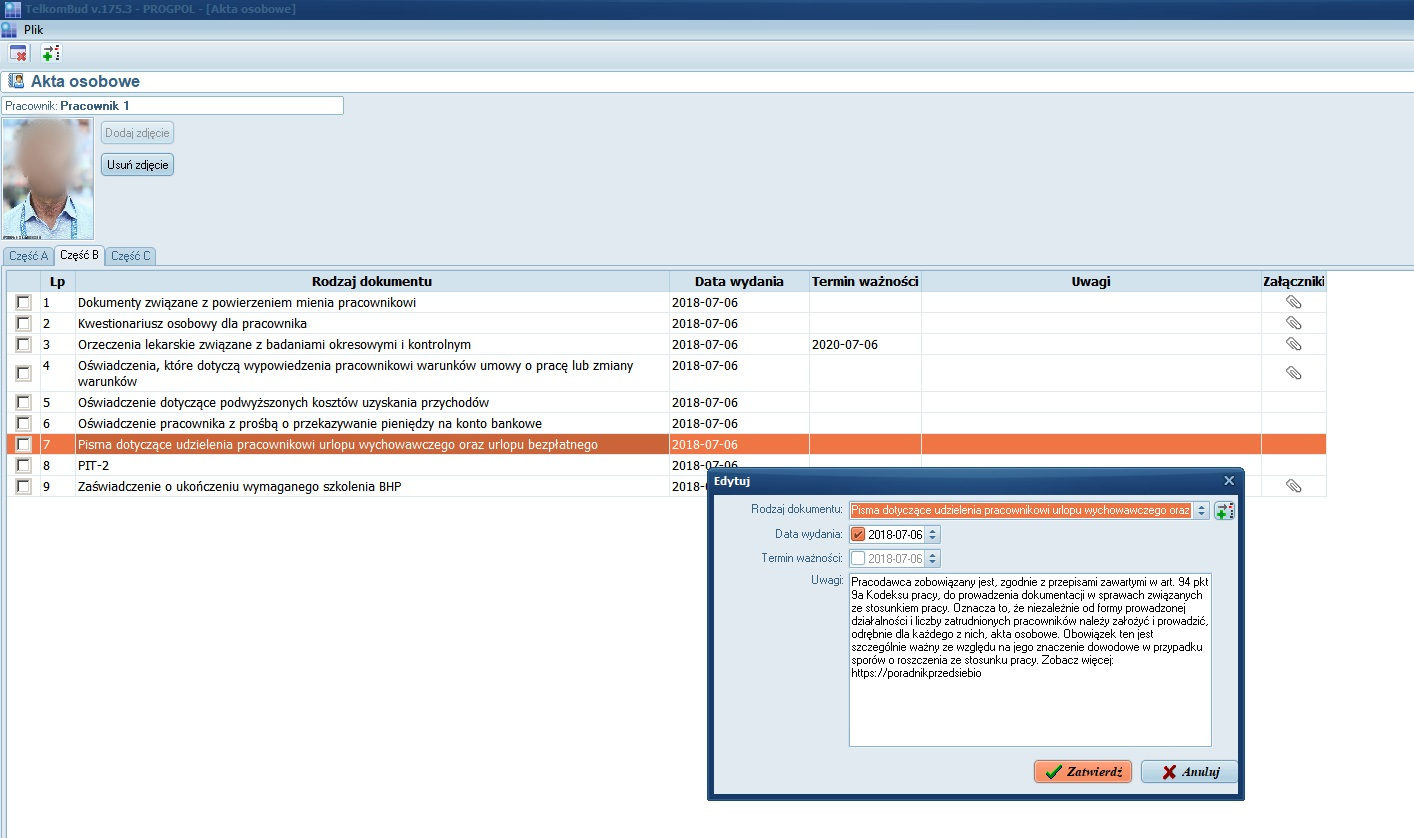 Okno Akta osobowe w module Kadry systemu TelkomBud