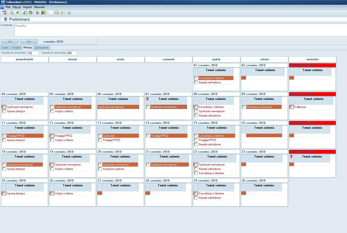 Okno Kalendarz kancelarii w systemie TelkomBud