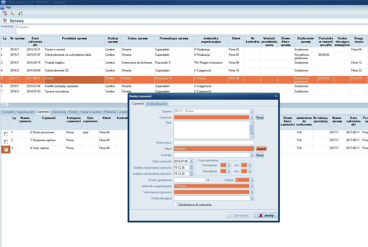 Formularz Dodanie czynności do sprawy modułu kancelaria w systemie TelkomBud