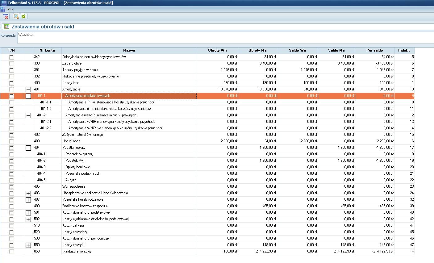 Okno Zestawienie obrotów i sald na kontach księgowych w systemie TelkomBud