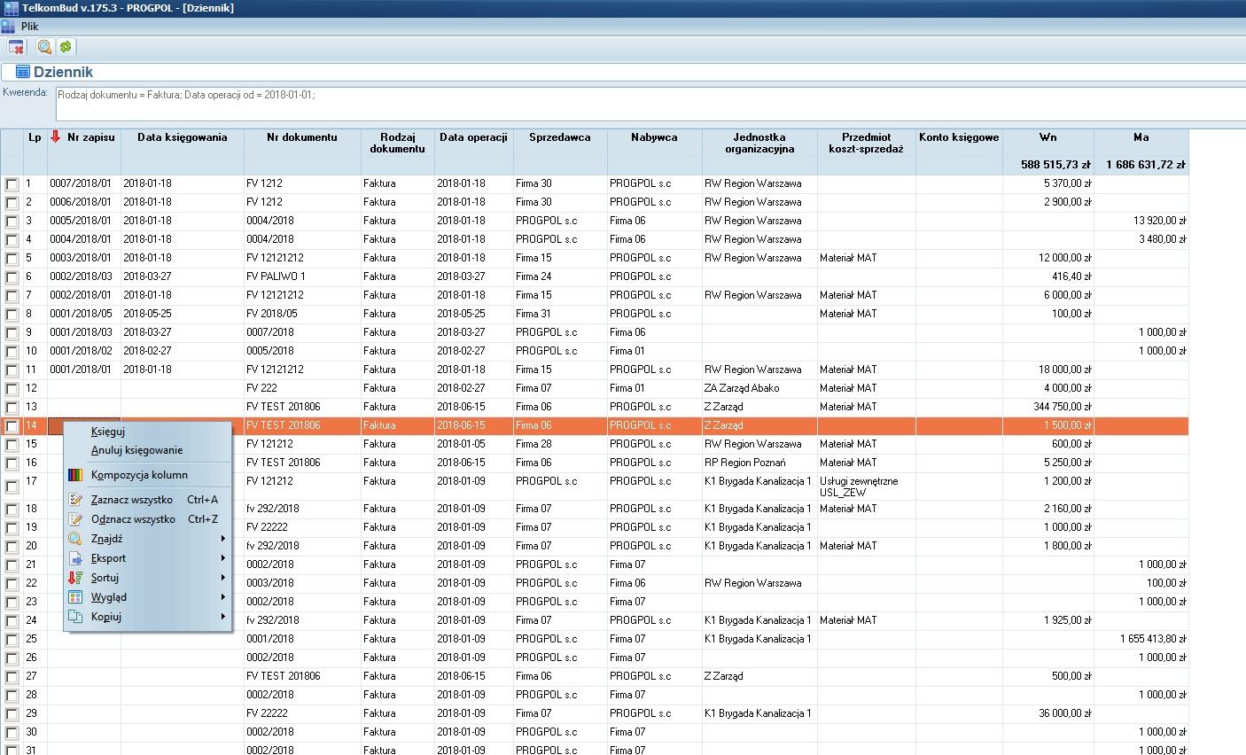 Okno Dziennik operacji księgowych modułu Księgowość w systemie TelkomBud