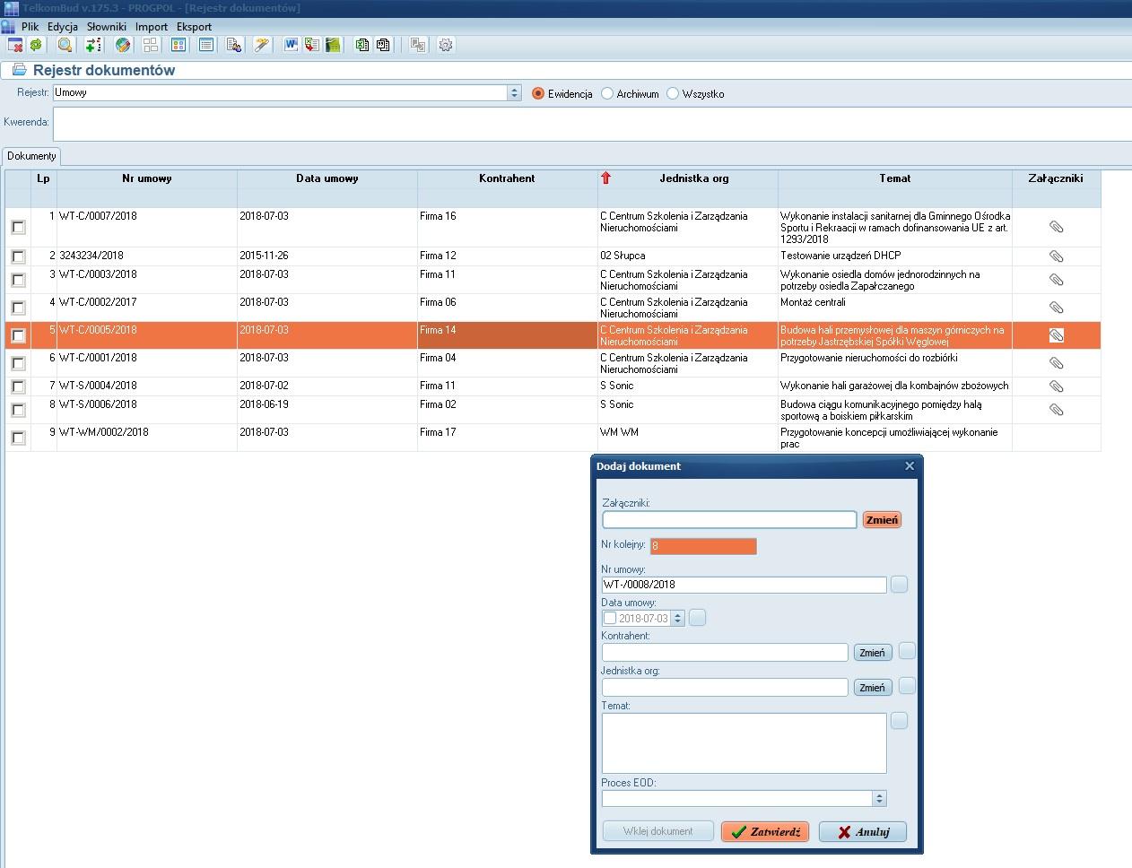 Okno Rejestru dokumentów z załącznikami systemu TelkomBud
