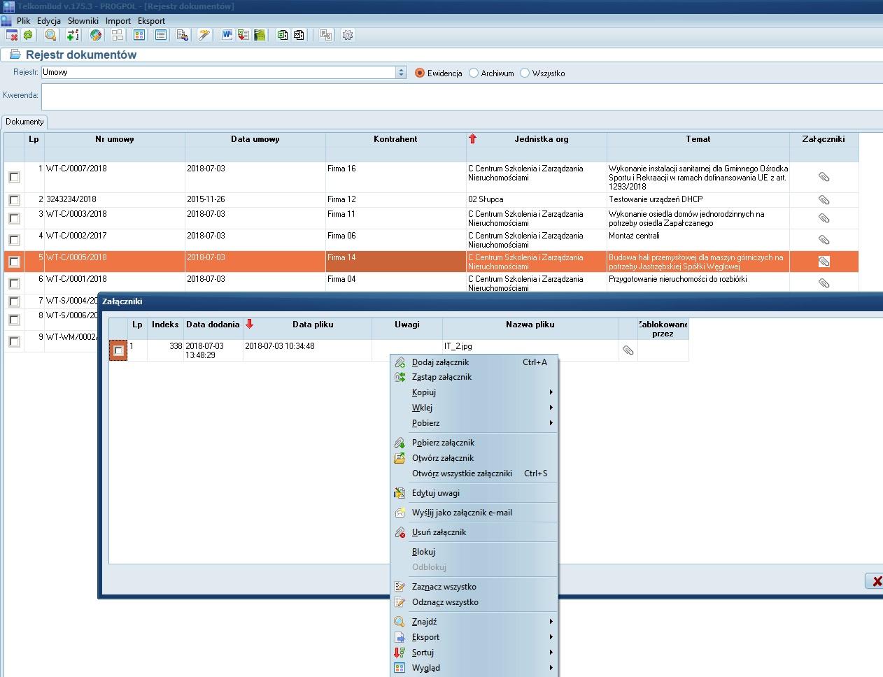 Formularz Załączniki rejestru dokumentów systemu TelkomBud