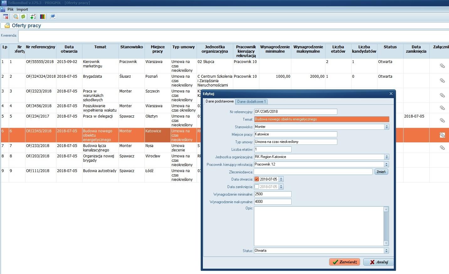 Okno Oferty pracy modułu Rekrutacja w systemie TelkomBud