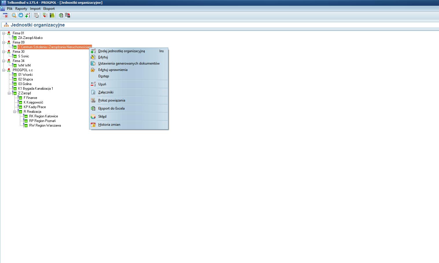 Okno Jednostki organizacyjne systemu TelkomBud