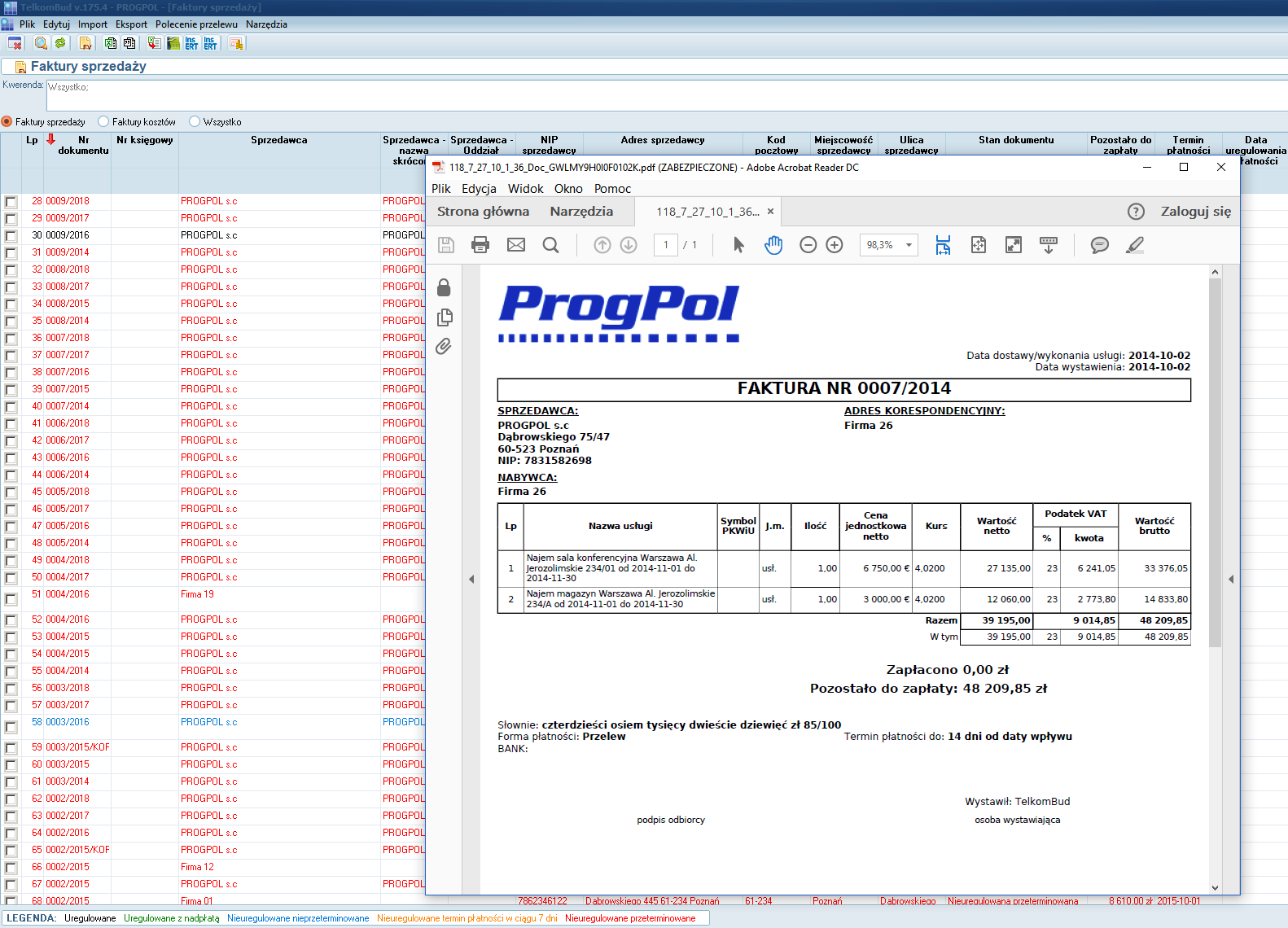 Okno Ewidencja faktur w module Finanse w systemie TelkomBud