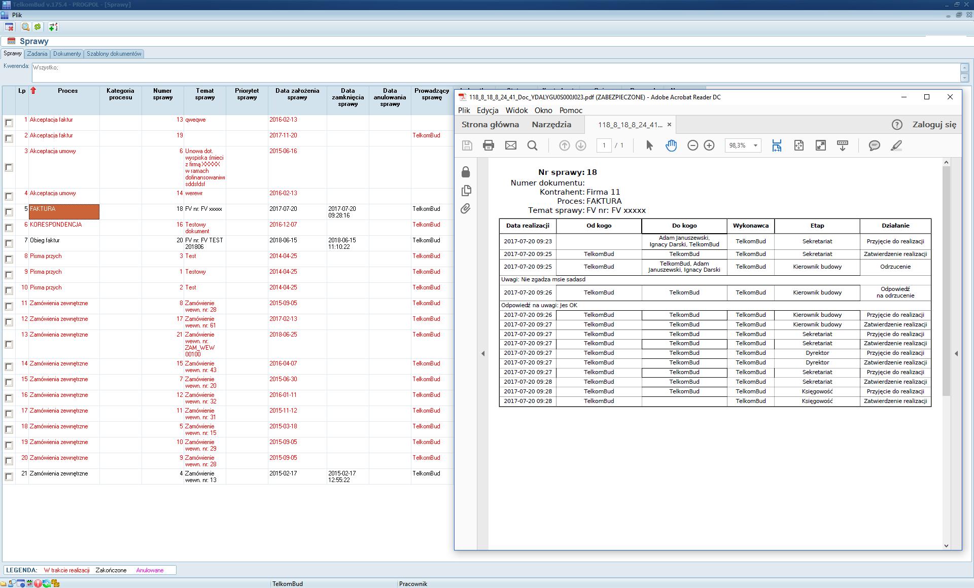 Sprawa w elektronicznym obiegu dokumentów systemu TelkomBud