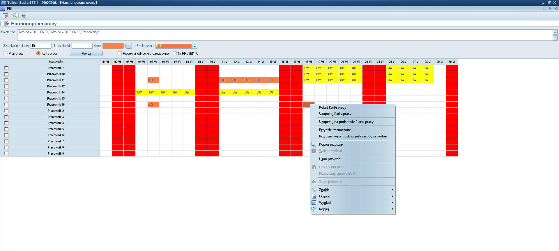 Planowanie urlopów w module Kadry systemu TelkomBud