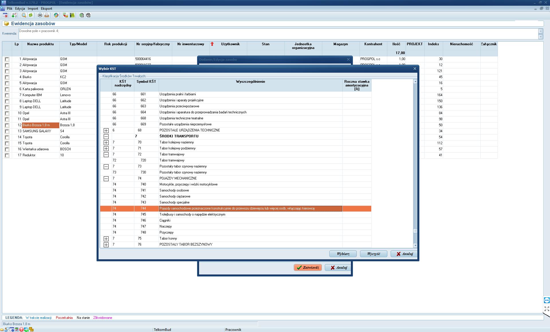 Okno Klasyfikacja środków trwałych w module Zasoby systemu TelkomBud